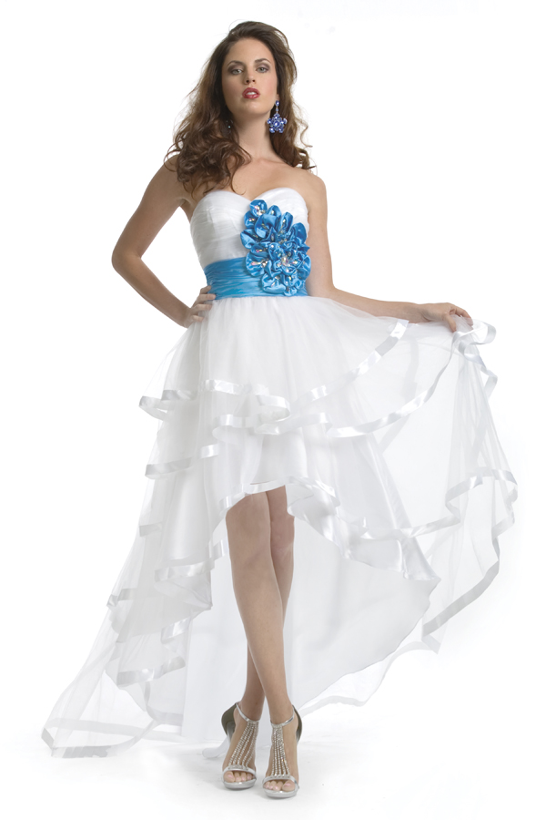 White A Line Sweetheart Strapless Hi Low Length Sexy Dresses With Turquoise Flowers And Belt
