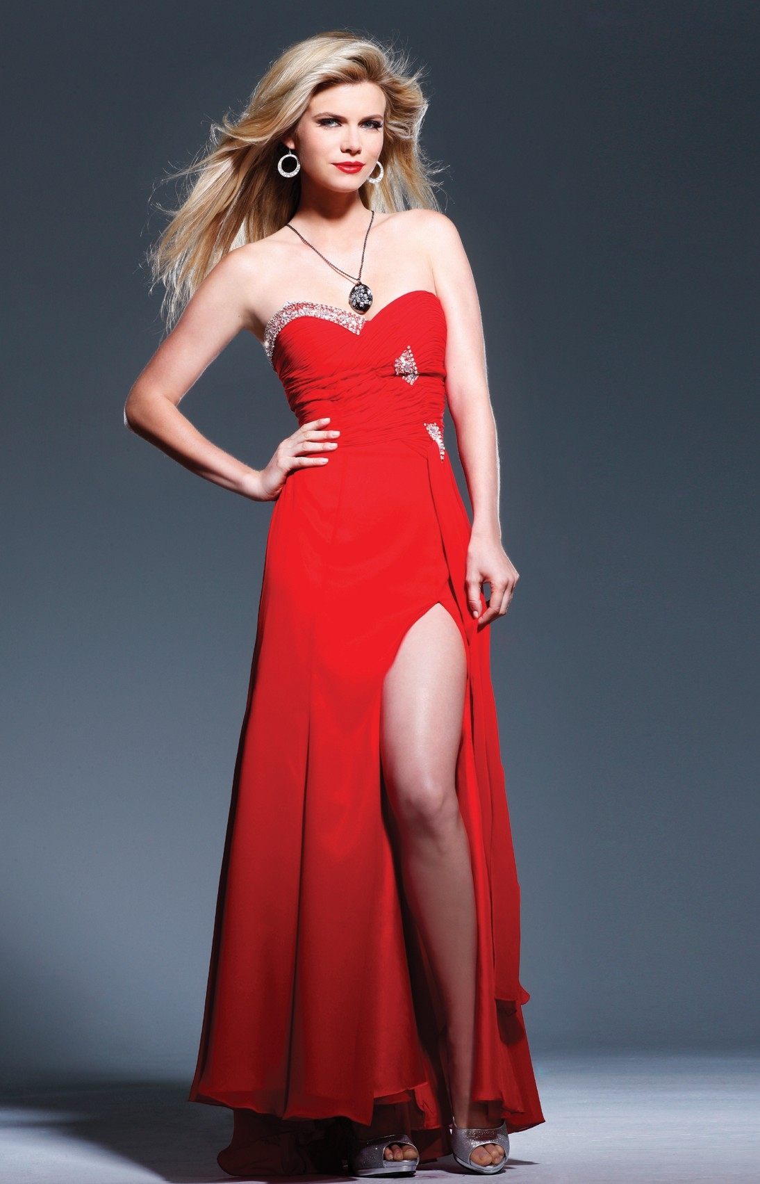 Strapless Sweetheart Red A Line Floor Length Sexy Dresses With Sequins And High Slit