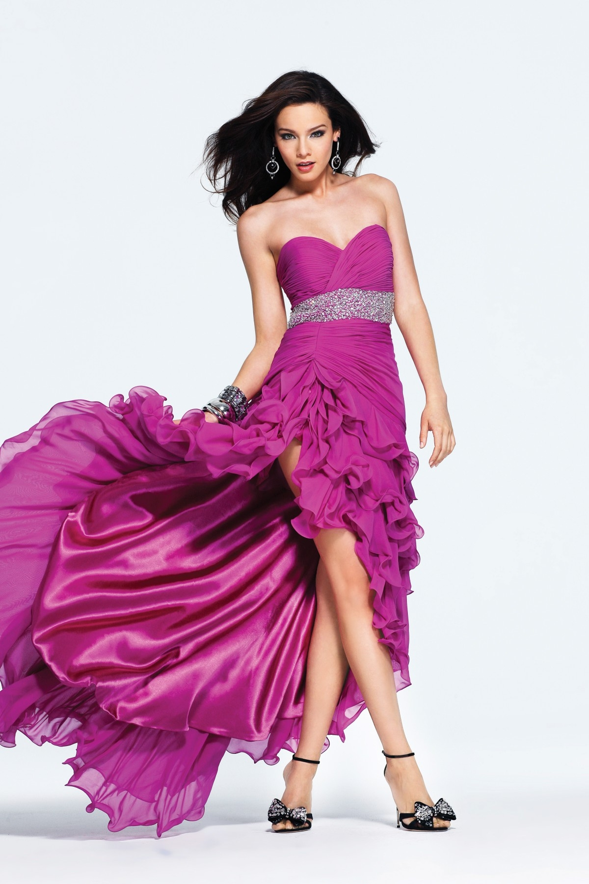 A Line High Low Sweetheart Open Back Fuchsia Sexy Dresses With Beadings And Ruffles