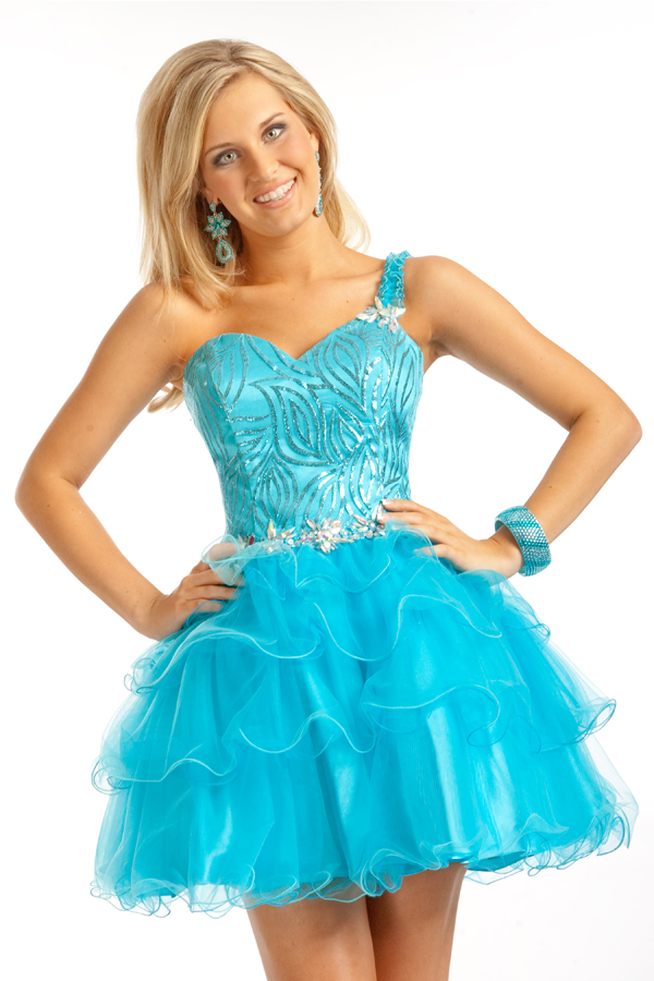 Turquoise One Shoulder Sweetheart Mini Short Tiered Tulle Sexy Dresses With Appliques