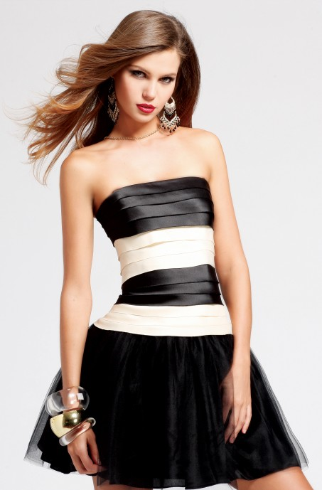 Classic Black And Ivory A Line Strapless Short Mini Satin Tulle Sexy Dresses