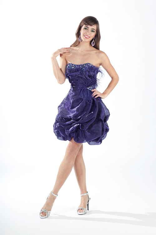 Dark Purple Strapless Short Mini A Line Sexy Dresses With Applique And Ruffles