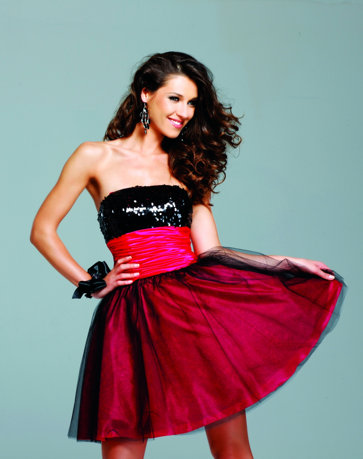 Black And Red A Line Short Mini Strapless Sexy Dresses With Sequins And Wide Belt