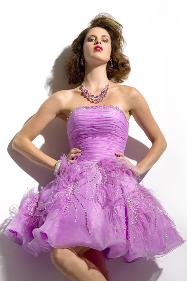 Lilac A Line Short Mini Length Strapless Sexy Dresses With Ruffles Beads And Feathers