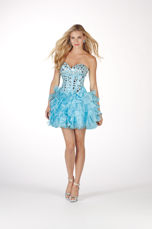 Light Sky Blue A Line Strapless Sweetheart Mini Sexy Dresses With Sequins And Ruffles