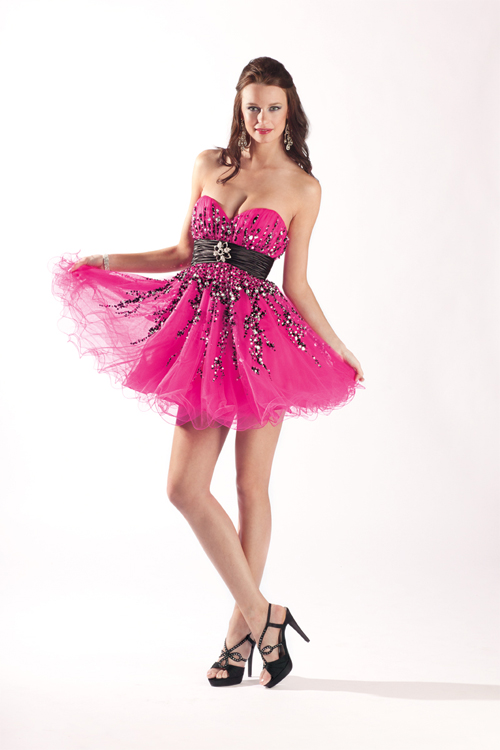 Hot Pink A Line Mini Length Sweetheart Empire Tulle Sexy Dresses With Black And White Embellishments