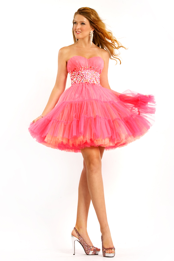 Hot Pink A Line Sweetheart Strapless Low Back Short Mini Sexy Dresses With Bead Waist