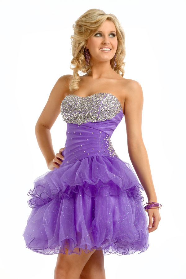 Fashionable Lilac A Line Strapless Sweetheart Short Mini Sexy Dresses With Beadings