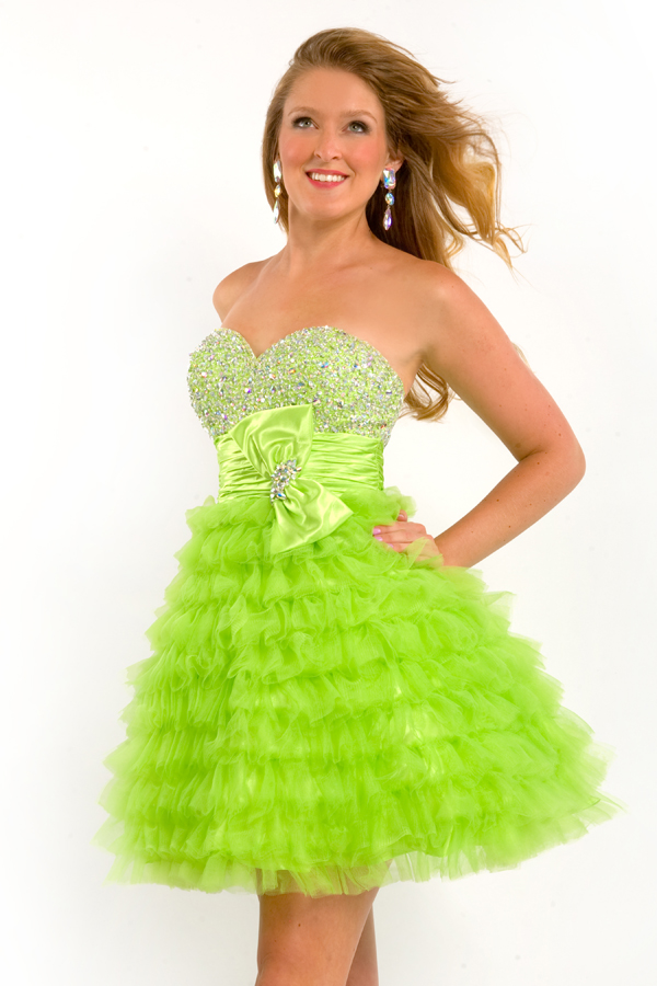 Lime Strapless Sweetheart Empire Short Mini Sexy Dresses With Beading And Tiered Ruffles