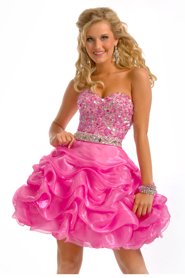 Blazing Fuchsia A Line Mini Length Strapless Sweetheart Sexy Dresses With Jewel And Ruffles