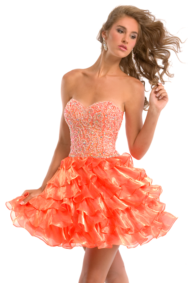 Orange Strapless Sweetheart Short Mini Tiered A Line Sexy Dresses With Embroidery And Ruffles
