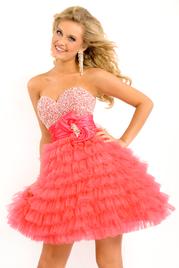 Watermelon Sweetheart Strapless Empire Short Mini Tiered Sexy Dresses With Beading And Ruffles