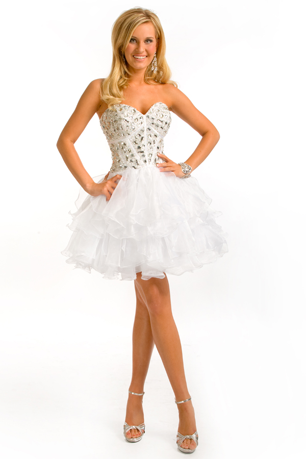 White A Line Sweetheart Strapless Tiered Mini Sexy Dresses With Jewel And Ruffles