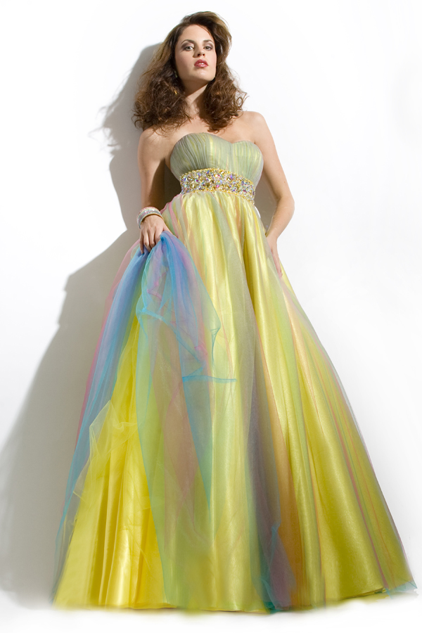 Rainbow And Yellow Strapless Full Length Empire Sexy Dresses With Colorful Beaded Waist