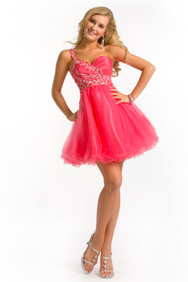 Coral Red Short Mini One Shoulder Sweetheart Empire Tulle Sexy Dresses With Appliques