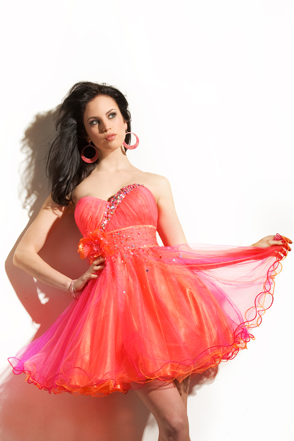 Coral Red Empire Short Mini Sweetheart Strapless Tulle Sexy Dresses With Sequins And Flower