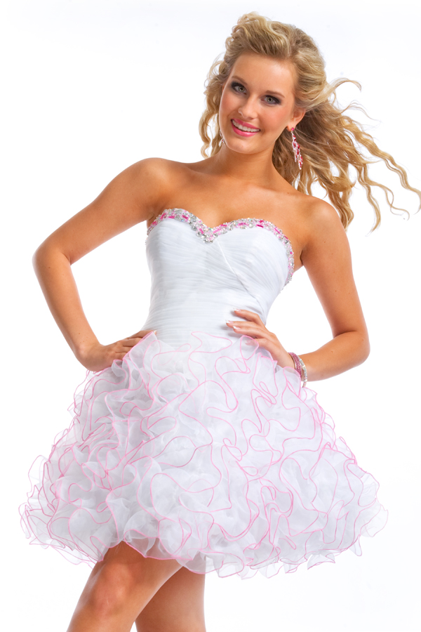 White Ball Gown Short Mini Strapless Sweetheart Sexy Dresses With Beads And Pink Trimmed Ruffles