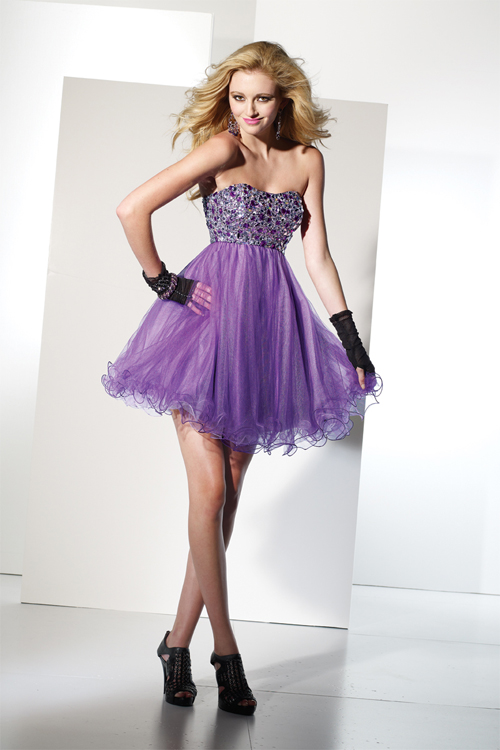 Purple Sweetheart Strapless Empire Short Mini Tulle Sexy Dresses With Beadings