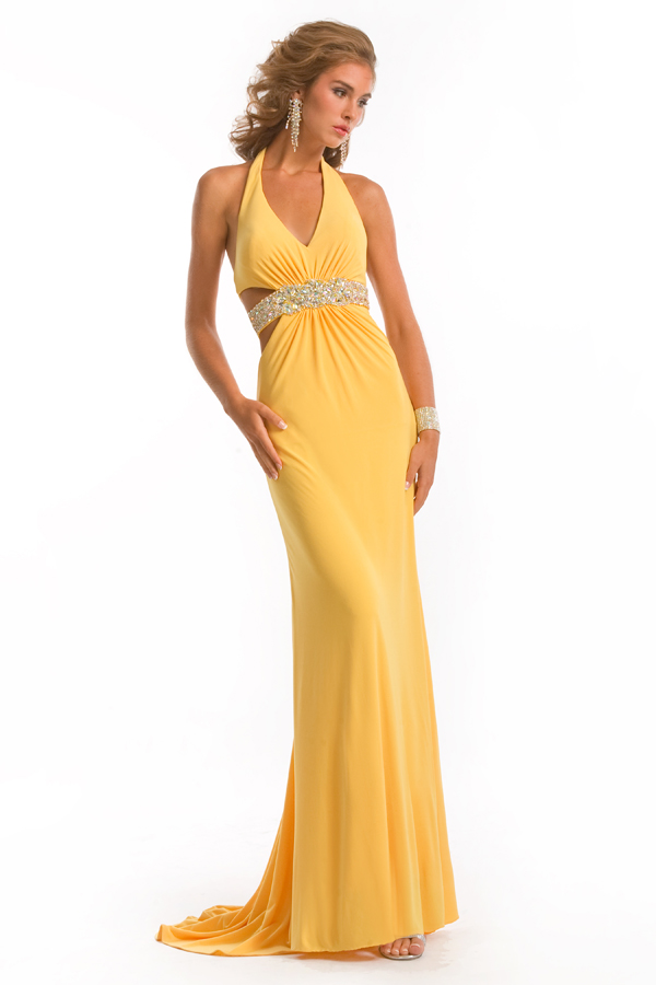 Daffodil Empire Floor Length Halter Open Back Column Sexy Dresses With Beading Waistband