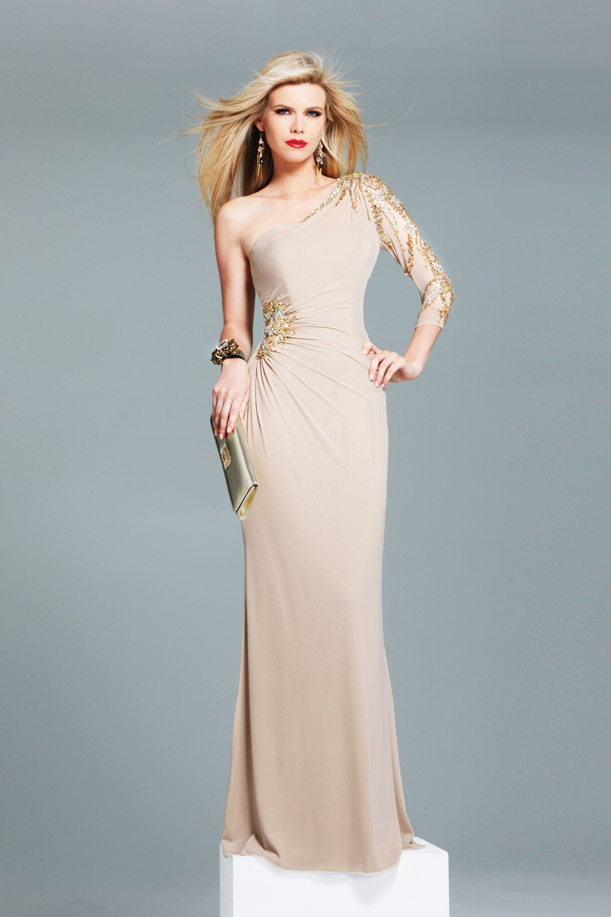 Beige Floor Length One Shoulder And Long Sleeve Column Sexy Dresses With Gold Beads And Side Slit