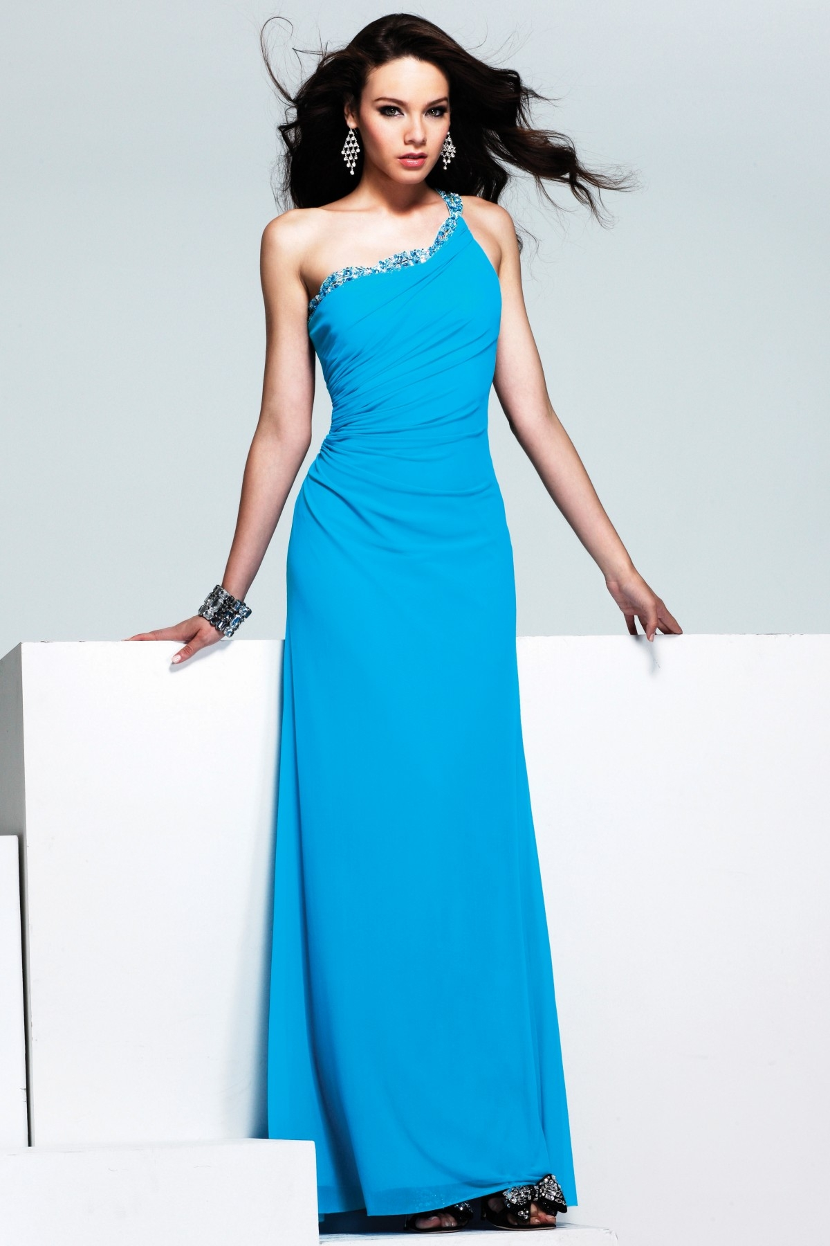 Blue One Shoulder Open Back Column Full Length Sexy Dresses With Sequins