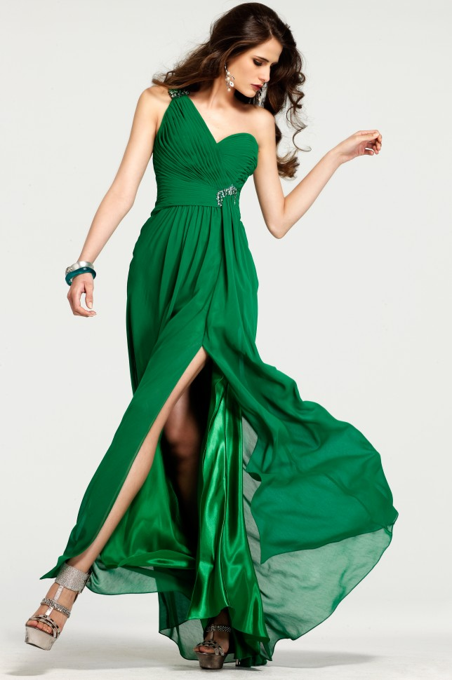 Green One Shoulder High Slit Open Back Floor Length Column Sexy Dresses With Beads And Ruffles