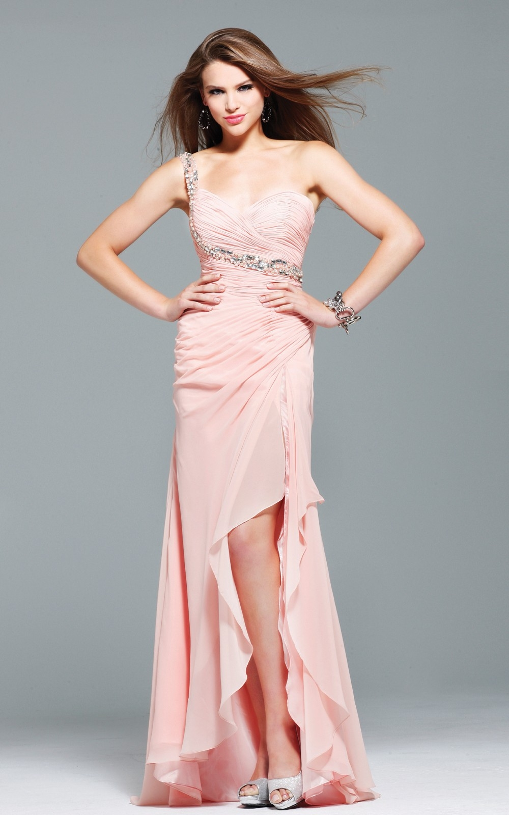 Column One Shoulder Low Back Hi Low Light Pink Sexy Dresses With Sequins And Ruffles