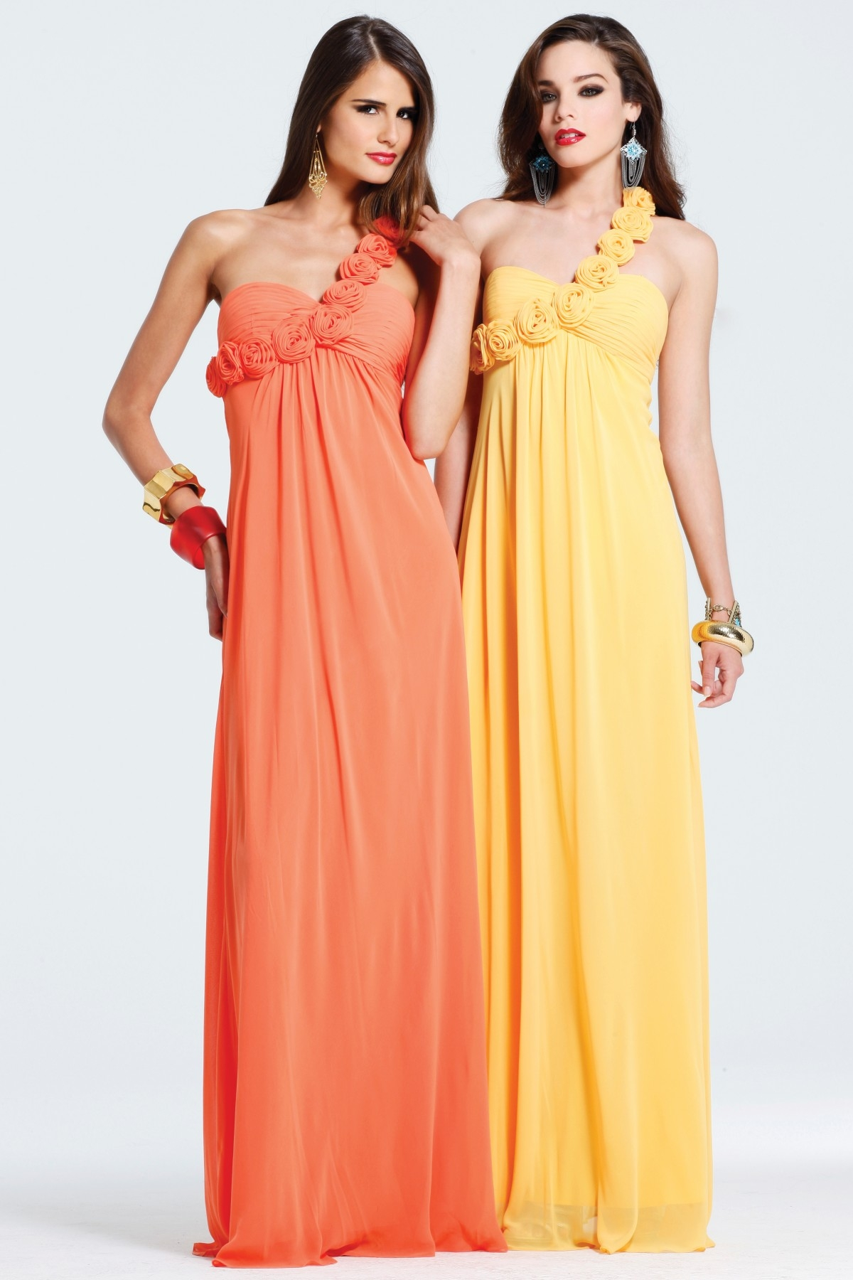 Orange One Shoulder Zipper Floor Length Column Sexy Dresses With Rosettes