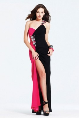 Red Black Floor Length One Shoulder High Slit Open Back Column Sexy Dresses With Appliques