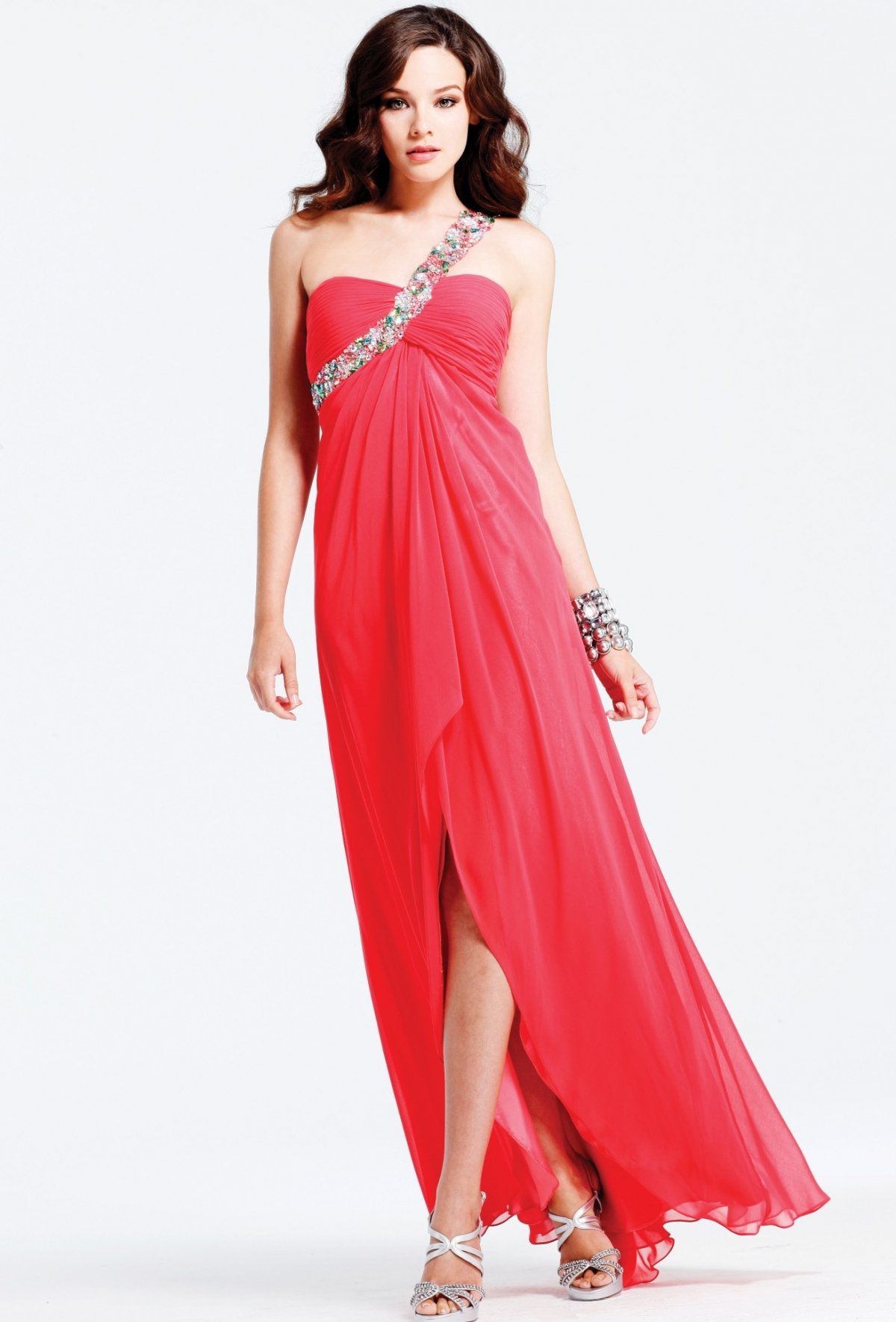 Red One Shoulder High Slit Open Back Full Length Column Sexy Dresses With Multi Color Sequins