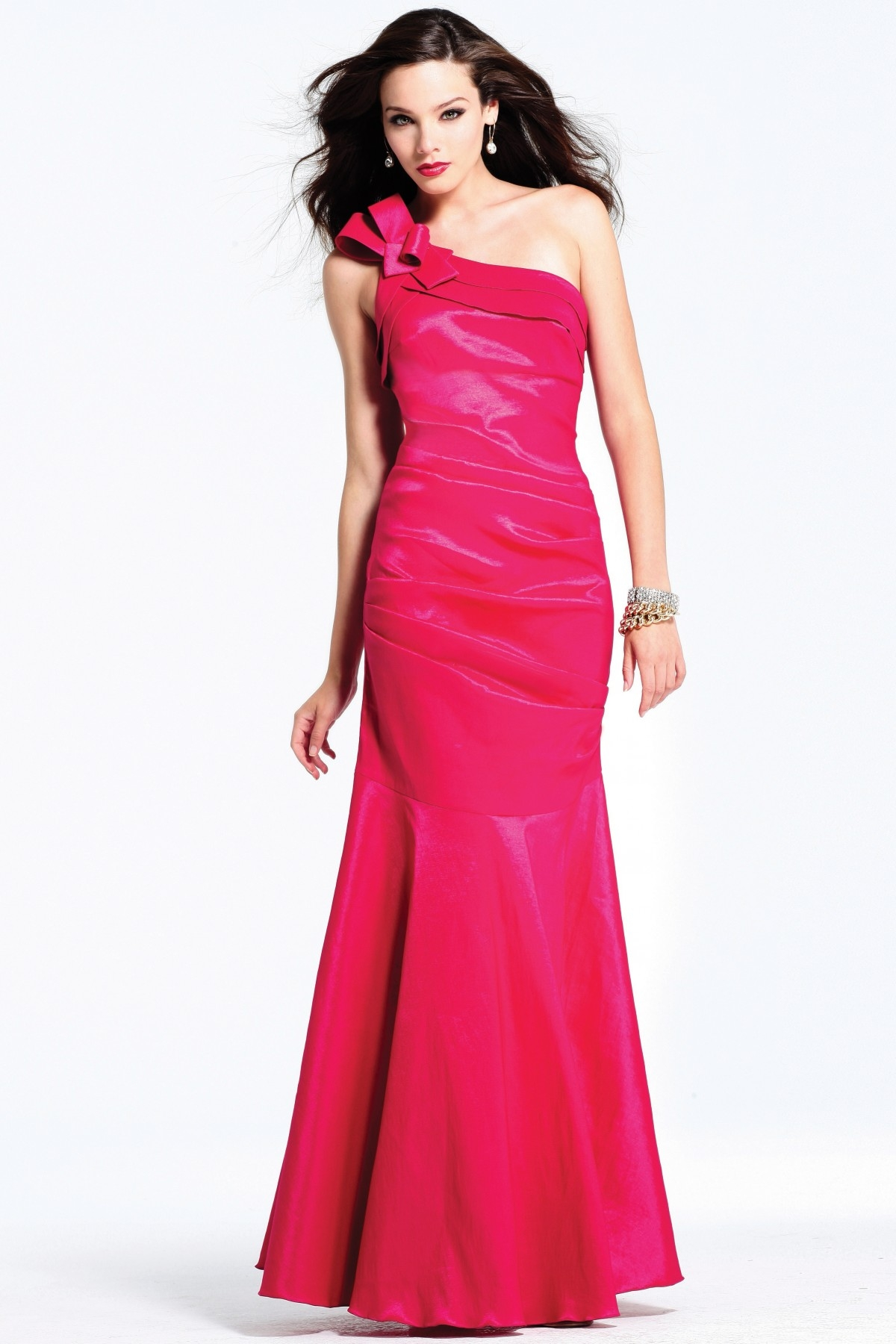 Graceful Floor Length One Shoulder Column Magenta Sexy Dresses With Bowknot