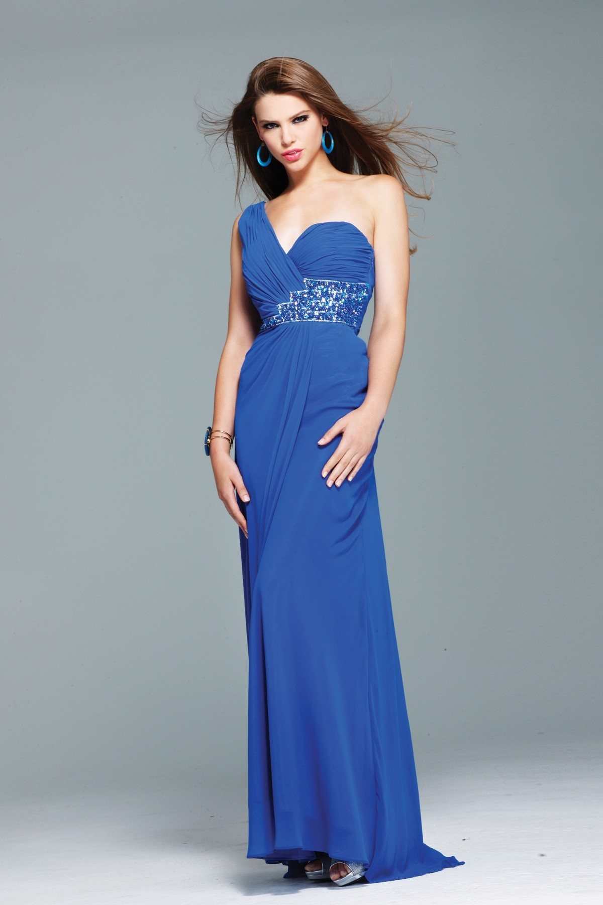 Floor Length One Shoulder Low Back Sweep Train Royal Blue Column Sexy Dresses With Sequins