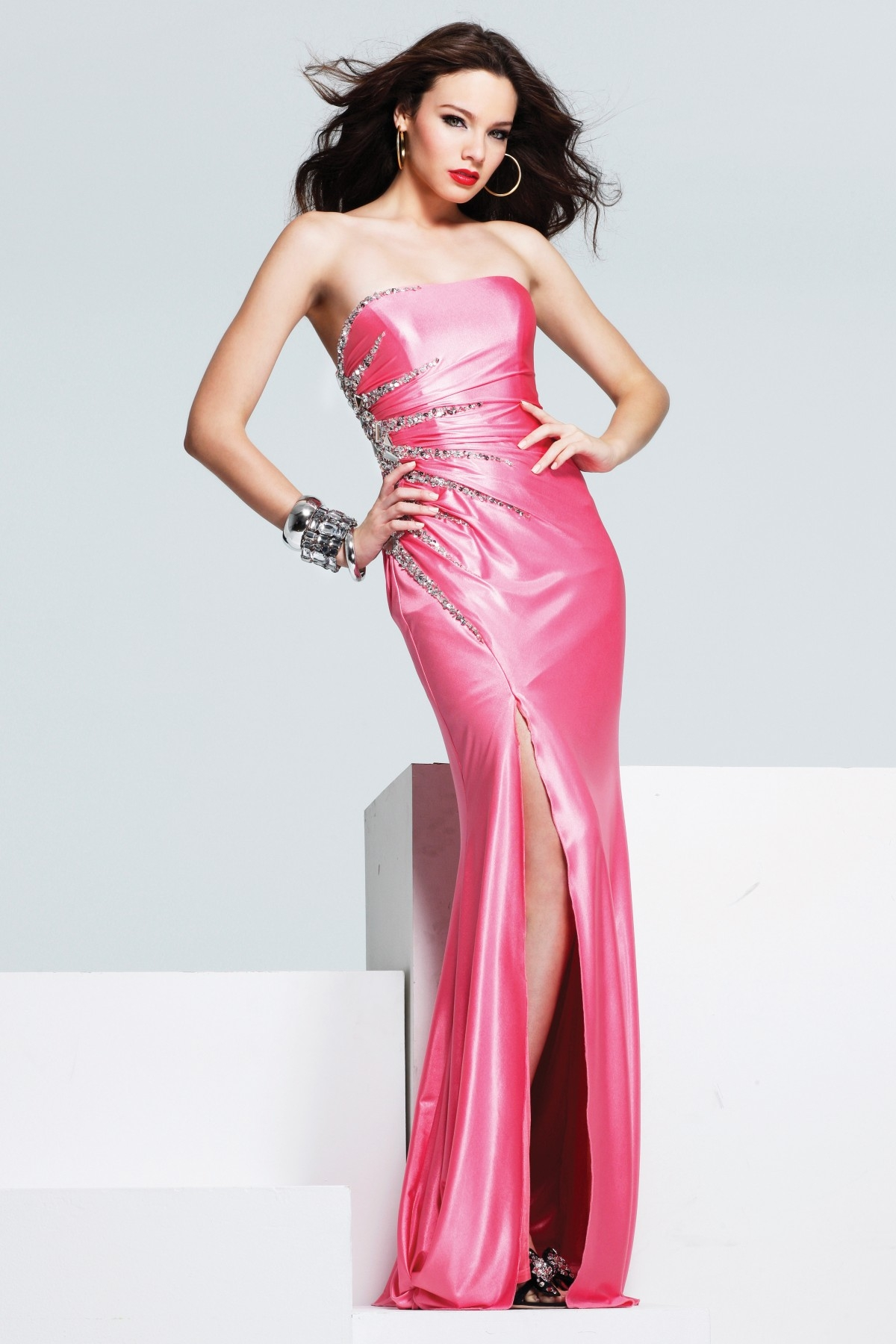 Elite Hot Pink Sweetheart High Slit Low Back Floor Length Column Sexy Dresses With Sequins