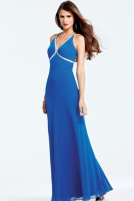 Blue V Neck Cross Back Floor Length Sheath Sexy Dresses With Sequins