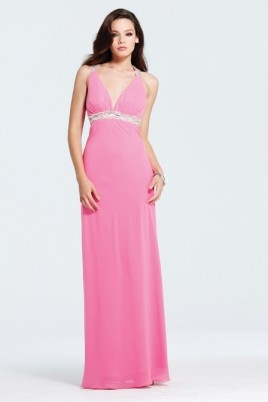 Column V Neck Cross Back Floor Length Pink Sexy Dresses With Sequins