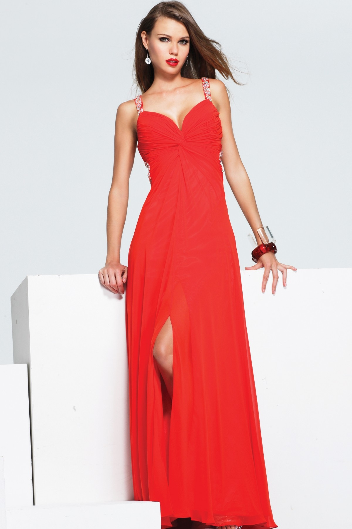 Romantic Floor Length Column V Neck High Slit Open Back Red Sexy Dresses With Sequins