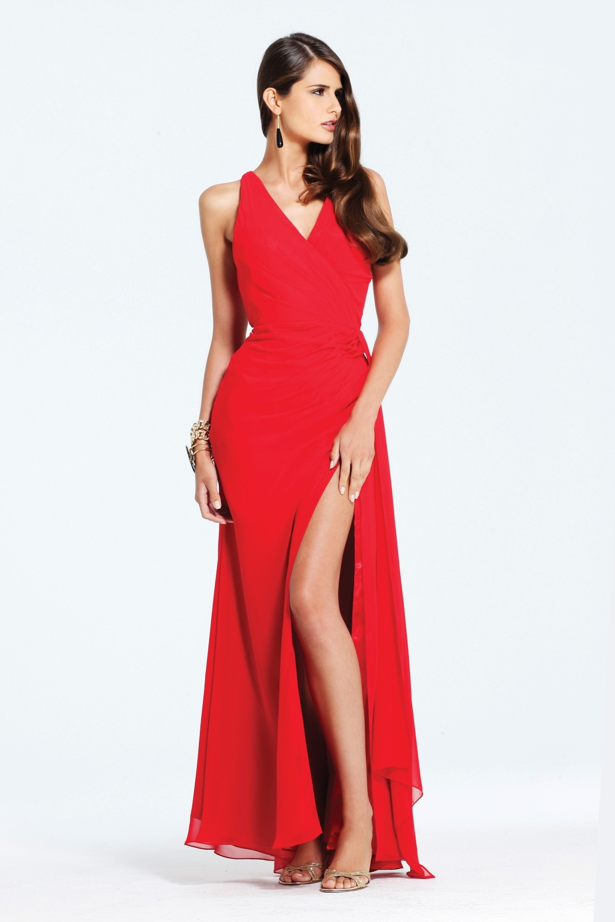 Airy Red V Neck High Slit Cross Back Floor Length Column Chiffon Sexy Dresses
