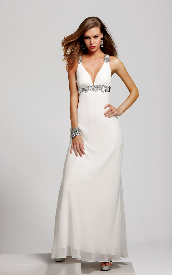 Ivory Column V Neck Cross Back Full Length Sexy Dresses With Silver Appliques