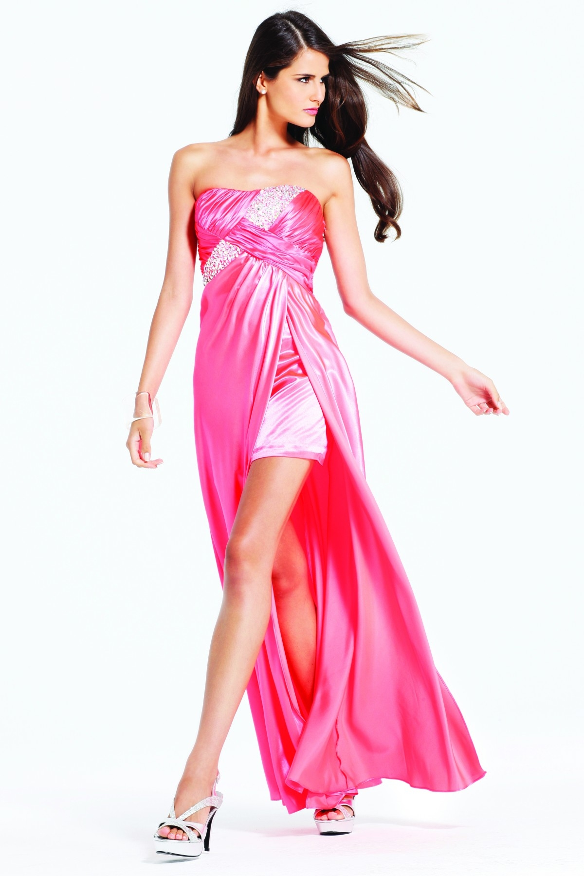Elaborate Seuined Hot Pink High Low Strapless Column Sexy Dresses