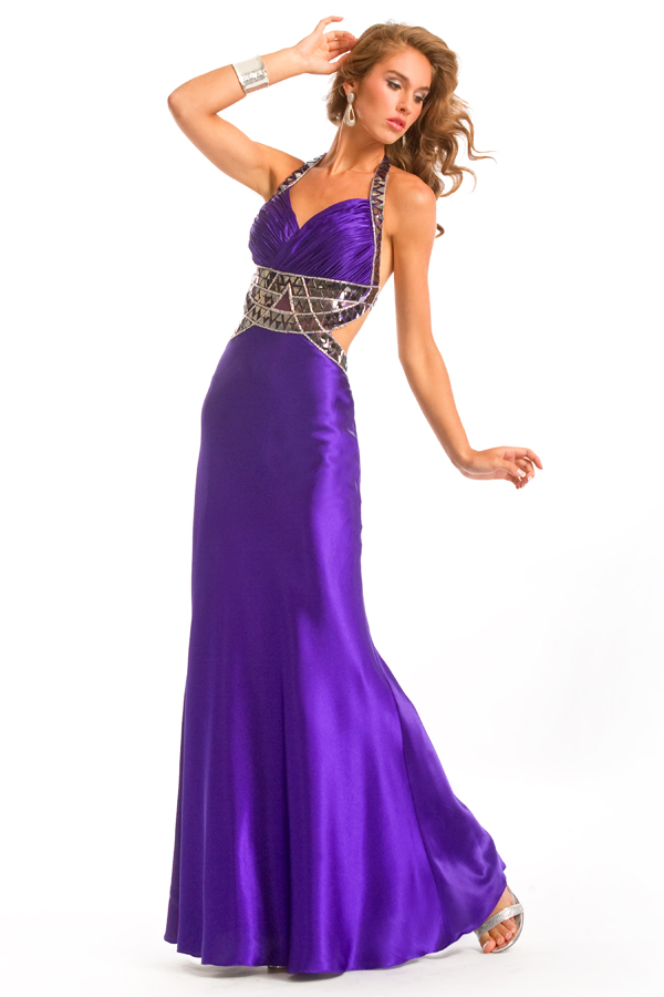 Graceful Purple Halter Low Back Empire Floor Length Sexy Dresses With Sequins