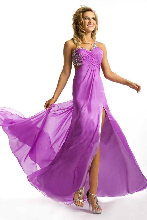 Lilac Empire One Shoulder High Slit Open Back Floor Length Sexy Dresses With Beads