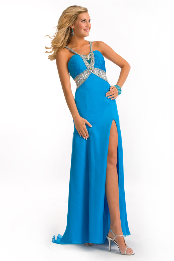 Turquoise Floor Length Strap High Slit Open Back Sweep Train Empire Sexy Dresses With Sequins