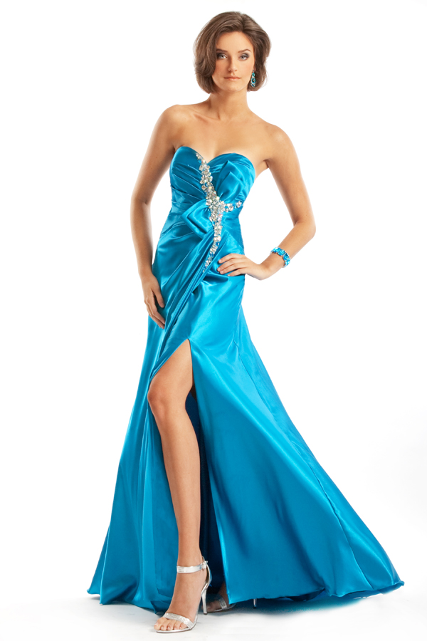 Turquoise Strapless Sweetheart High Slit Floor Length Empire Sexy Dresses With Jewel
