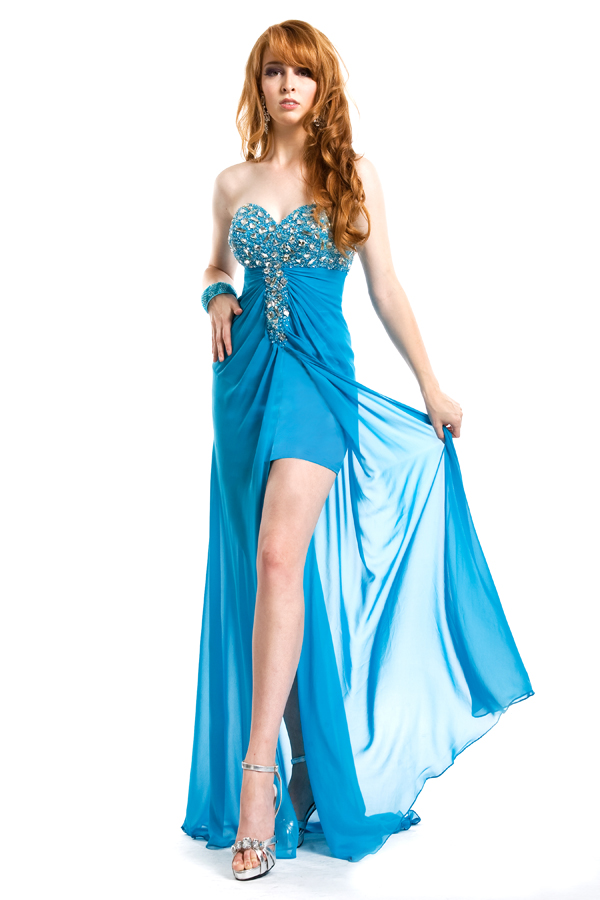 Blue High Low Length Sweetheart Strapless Low Back Empire Sexy Dresses With Jewel