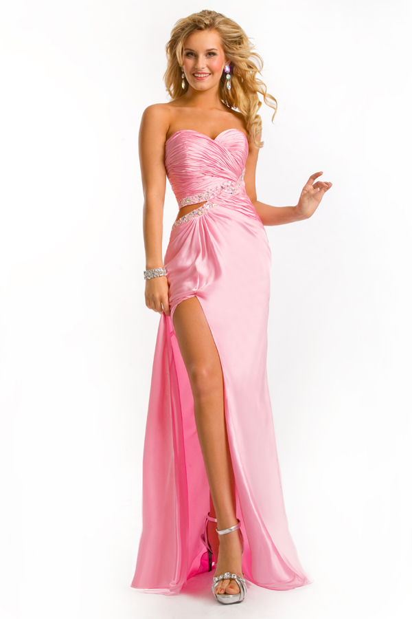 Pink Floor Length Sweetheart Strapless High Slit Column Sexy Dresses With Sequins