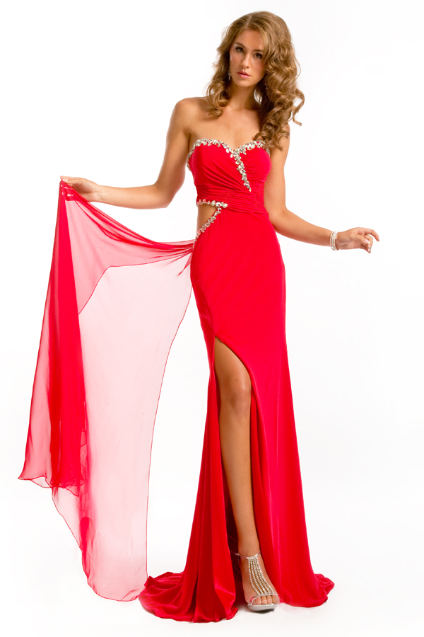 Red Empire Strapless Sweetheart High Slit Sweep Train Floor Length Sexy Dresses With Beads