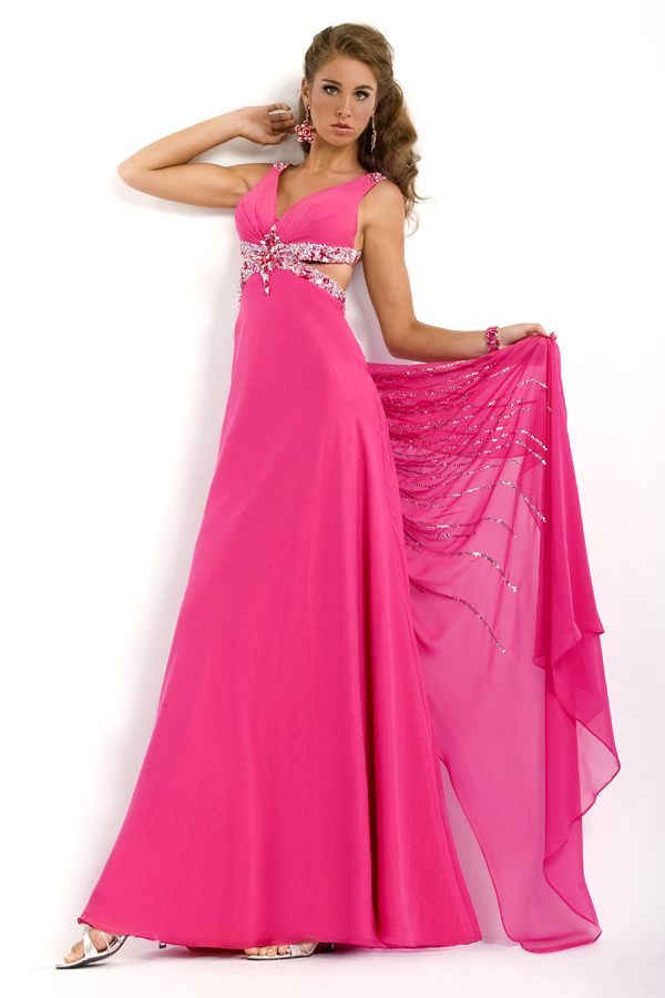 Fuchsia V Neck Cross Back Empire Floor Length Sexy Dresses With Sequins And Beads