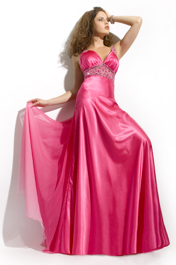 Elite Deep Pink Empire V Neck Open Back Floor Length Sexy Dresses With Beads