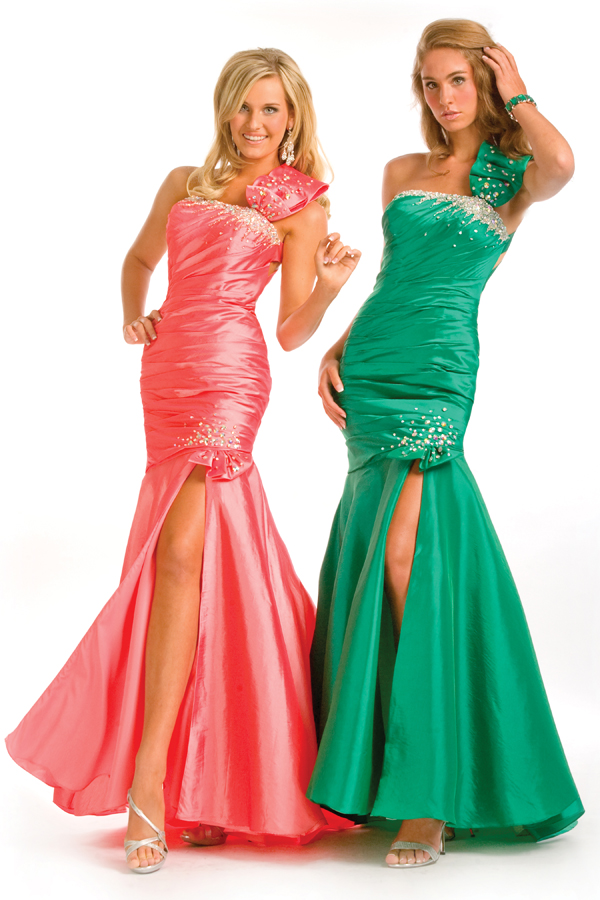 Coral Emerald Floor Length One Shoulder High Slit Open Back Mermaid Sexy Dresses With Sequins