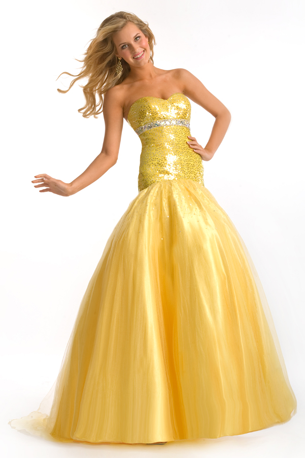 Yellow Mermaid Sweetheart Strapless Sweep Train Floor Length Sexy Dresses With Sequins